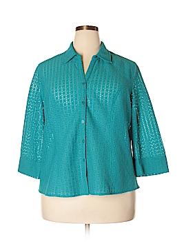Selene Sport 3/4 Sleeve Button-Down Shirt Size 2X (Plus)