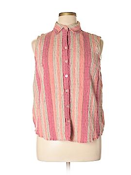 Krazy Kat Sleeveless Button-Down Shirt Size 1X (Plus)