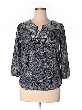 Lucky Brand 3/4 Sleeve Button-Down Shirt Size L