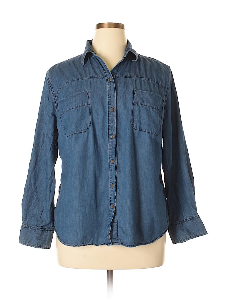 Merona Women Long Sleeve Button-Down Shirt Size 1