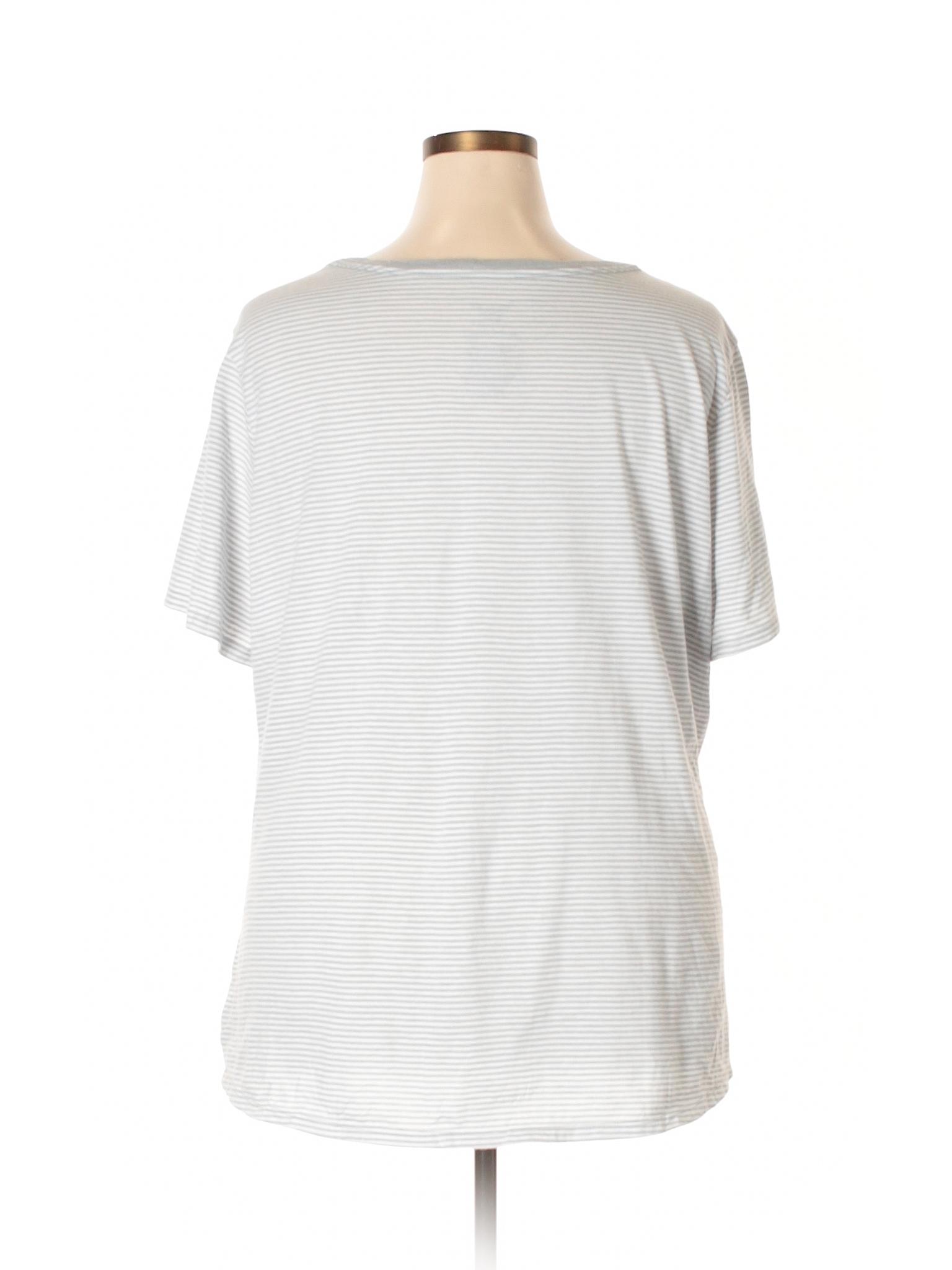 ecad0f63e8cb7 Faded Glory Stripes Gray Short Sleeve T-Shirt Size 4X (Plus) - 25 ...