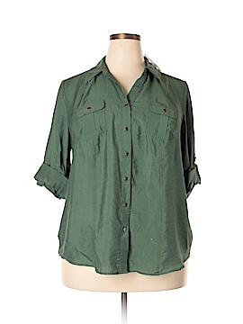 Roz & Ali Long Sleeve Button-Down Shirt Size 1X (Plus)