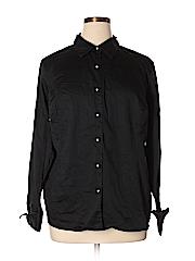Cj Banks Women Long Sleeve Button-Down Shirt Size 2X (Plus)