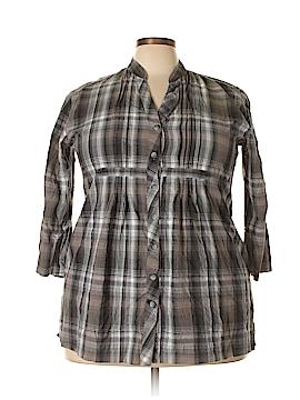 Relativity 3/4 Sleeve Button-Down Shirt Size 2X (Plus)