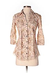 Daytrip Women 3/4 Sleeve Button-Down Shirt Size S