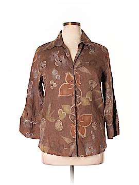 Harve Benard 3/4 Sleeve Button-Down Shirt Size 1X (Plus)