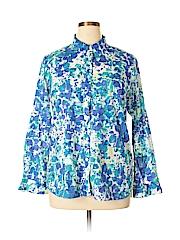 White Stag Women Long Sleeve Button-Down Shirt Size XL