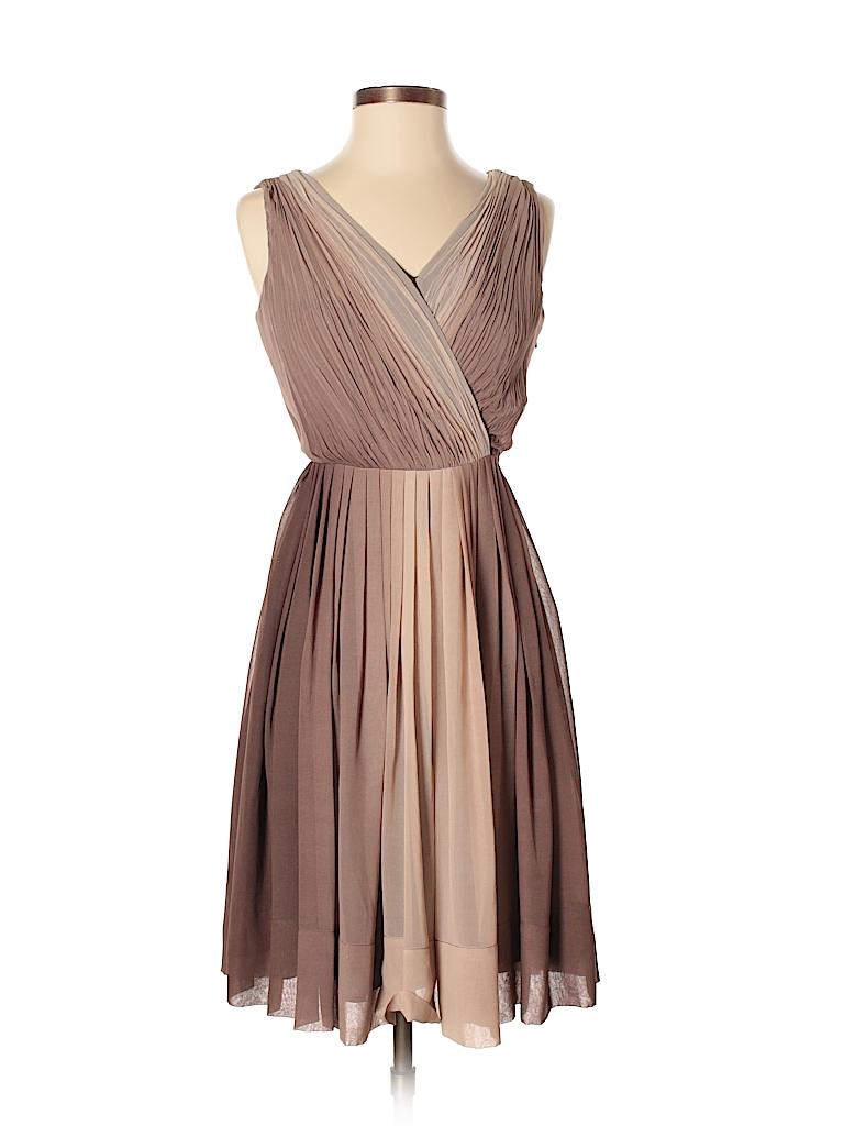 Talbots 100% Polyester Color Block Tan Cocktail Dress Size 2 (Petite ...