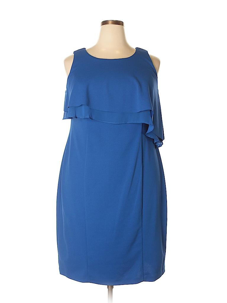 58b834f17f3 Taylor Solid Dark Blue Casual Dress Size 14w - 43% off