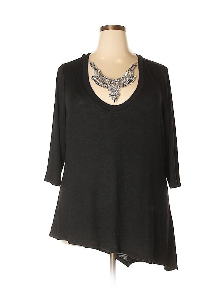 Bisou Bisou Women 3/4 Sleeve Top Size 2X (Plus)