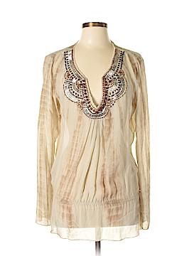 Hale Bob Long Sleeve Silk Top Size L