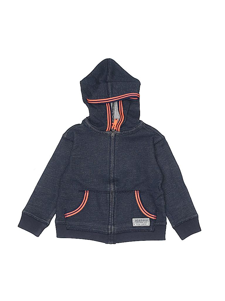 08258f526c OshKosh B gosh 100% Cotton Solid Navy Blue Zip Up Hoodie Size 3T ...