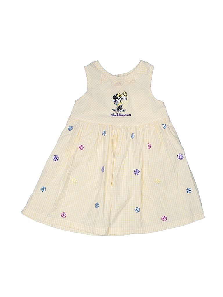 Walt Disney World Kids 100 Cotton Floral Graphic Yellow Dress Size
