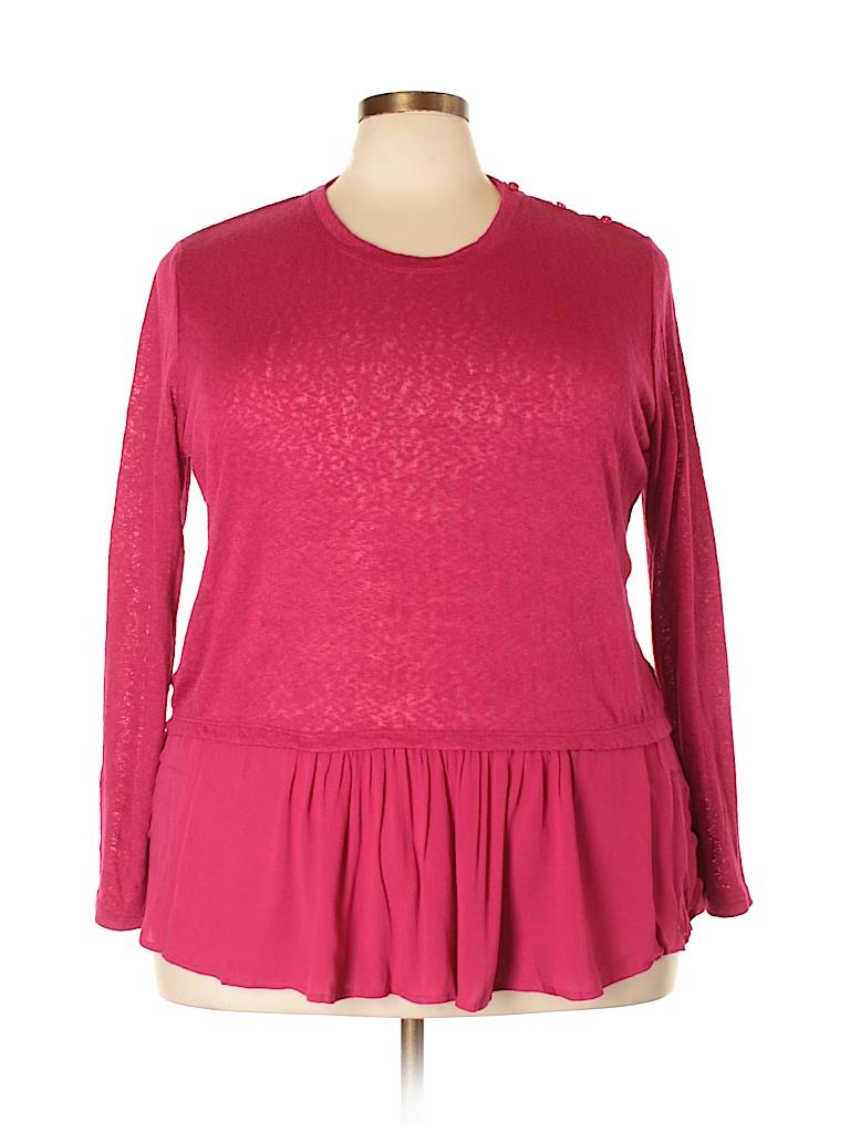 Molly & Isadora Women Long Sleeve Top Size 3X (Plus)