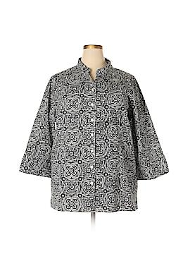 Silhouettes 3/4 Sleeve Button-Down Shirt Size 2X (Plus)