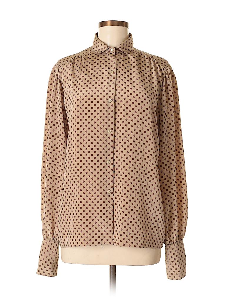7296b75f53775b Koret 100% Polyester Polka Dots Tan Long Sleeve Blouse Size 14 - 81 ...