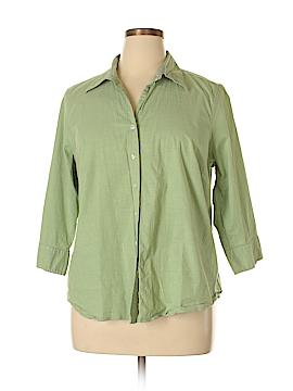 IZOD 3/4 Sleeve Button-Down Shirt Size 1X (Plus)