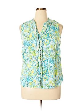 Kim Rogers Signature Sleeveless Button-Down Shirt Size XL