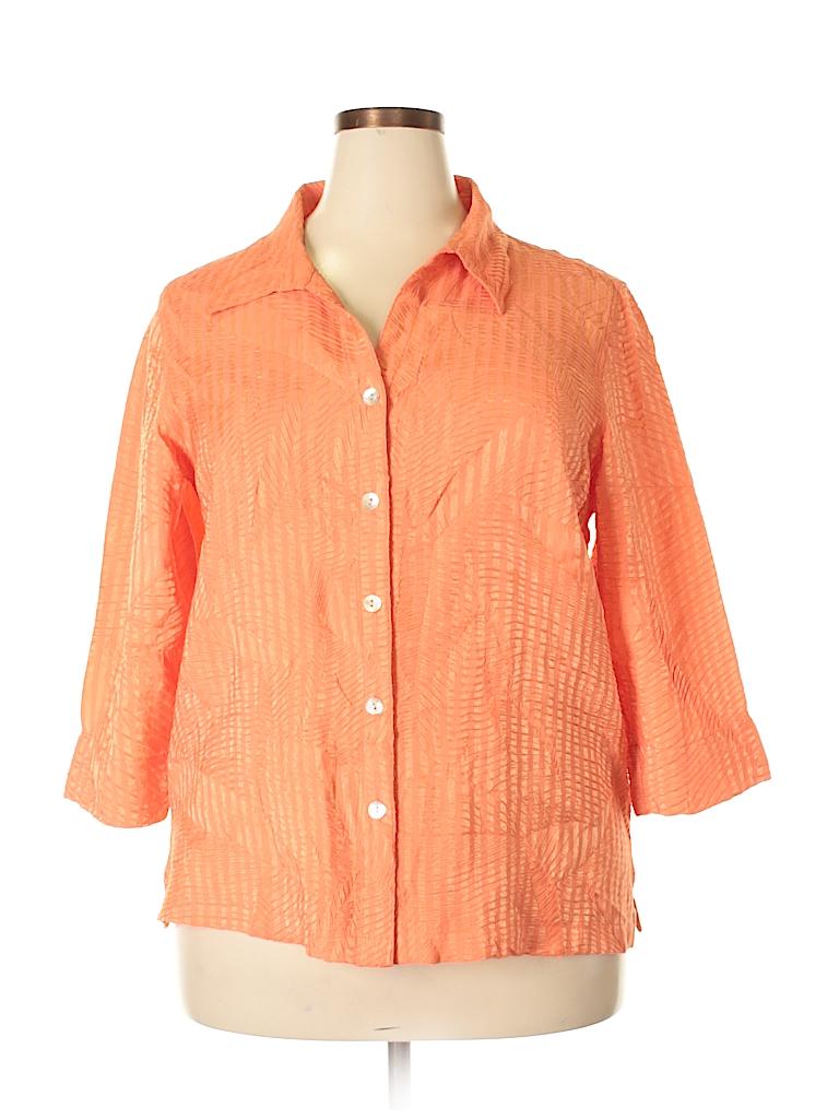 Scott Taylor Women Long Sleeve Button-Down Shirt Size 1X (Plus)
