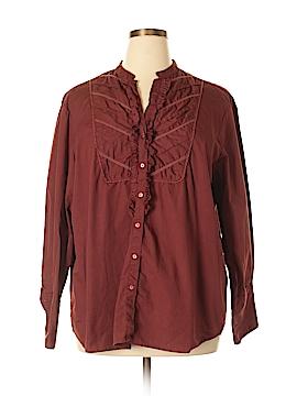 Claudia Richard Long Sleeve Button-Down Shirt Size 24W (Plus)