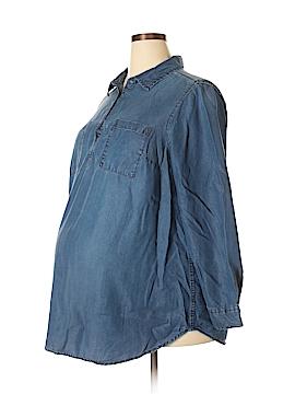 Liz Lange Maternity Long Sleeve Button-Down Shirt Size XXL (Maternity)