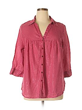 Unique Spectrum 3/4 Sleeve Button-Down Shirt Size 18 (Plus)