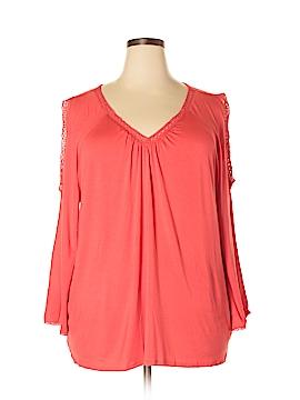 Linda Matthews 3/4 Sleeve Top Size 2X (Plus)