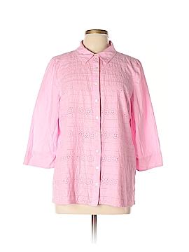 Denim + Company 3/4 Sleeve Button-Down Shirt Size XL