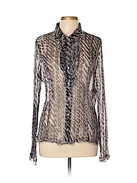 Oui Long Sleeve Silk Top Size 10