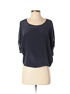 Line & Dot Short Sleeve Silk Top Size S