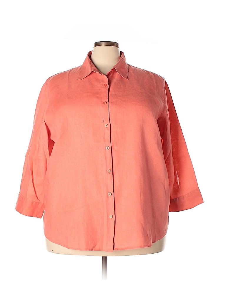 56e5cf7913a L.L.Bean 100% Linen Solid Coral Long Sleeve Button-Down Shirt Size ...