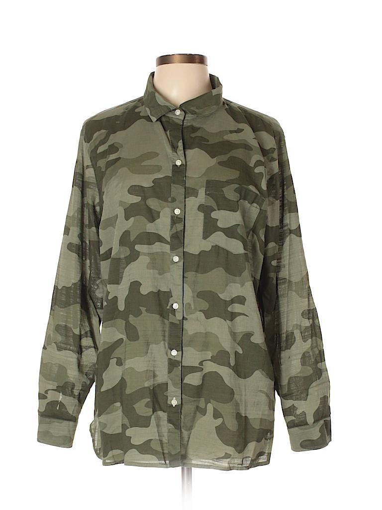c3d25c421dfc6 Old Navy 100% Cotton Camo Dark Green Long Sleeve Button-Down Shirt ...