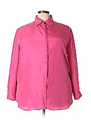 Diane von Furstenberg Women Long Sleeve Silk Top Size 1X (Plus)