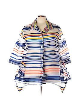Mirror Image 3/4 Sleeve Button-Down Shirt Size 3X (Plus)
