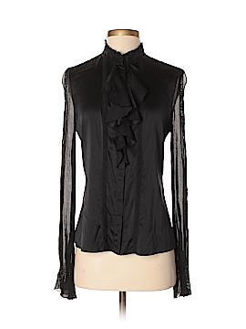 Signature Long Sleeve Silk Top Size M