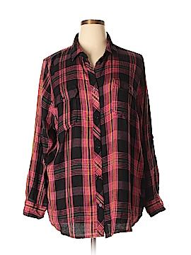 Boutique + Long Sleeve Button-Down Shirt Size 2X (Plus)