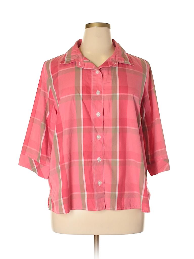 4621b2fa11850 Rebecca Malone Plaid Pink 3 4 Sleeve Button-Down Shirt Size 1X (Plus ...