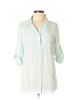 Bandolino 3/4 Sleeve Button-Down Shirt Size L