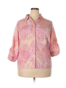 Christopher & Banks 3/4 Sleeve Button-Down Shirt Size 2X (Plus)