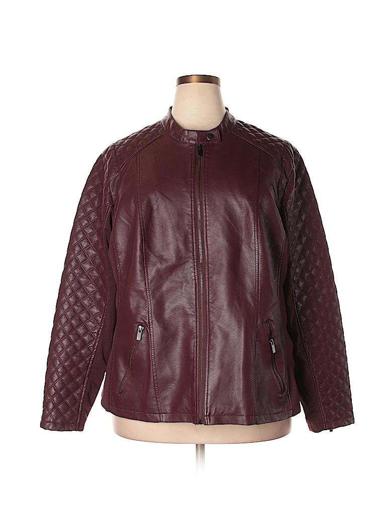 d85441567f25f Avenue 100% Polyurethane Solid Burgundy Faux Leather Jacket Size 22 ...