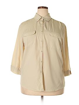 Laura Scott 3/4 Sleeve Button-Down Shirt Size 18 (Plus)