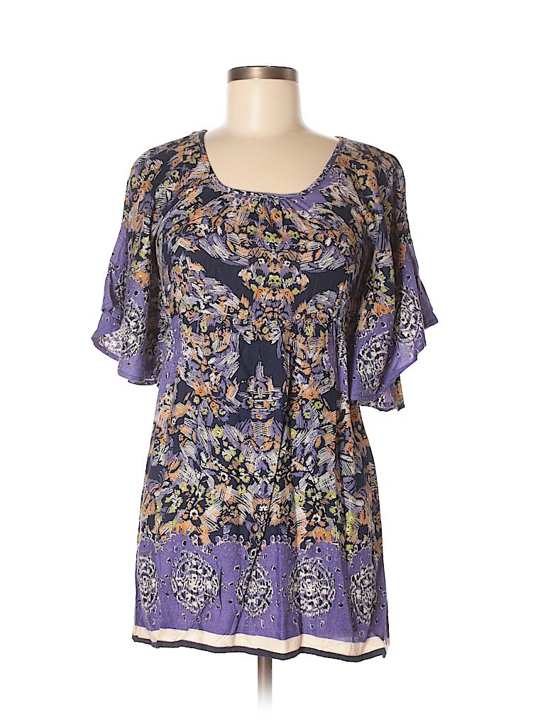 923163809903a Angie 100% Rayon Print Dark Purple Short Sleeve Blouse Size S - 72 ...