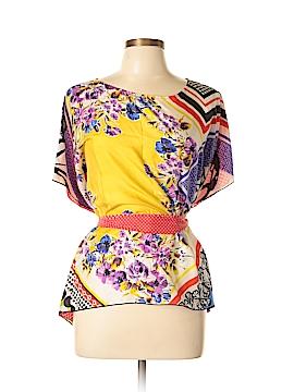 CAbi Short Sleeve Silk Top Size M