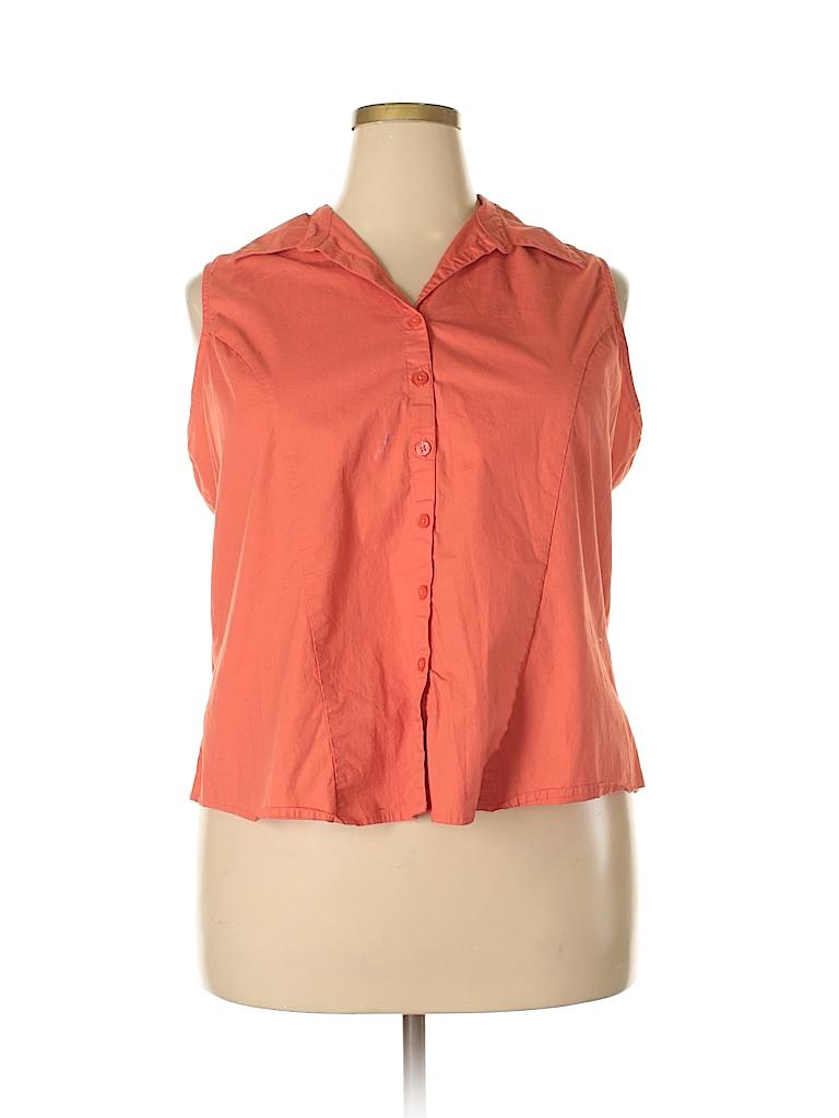 CSI Industries Women Sleeveless Button-Down Shirt Size 26 - 28 (Plus)
