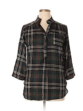 Cals 3/4 Sleeve Button-Down Shirt Size L