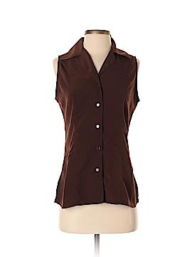 Kathie Lee Sleeveless Button-Down Shirt Size S
