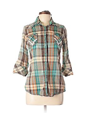 Roar 3/4 Sleeve Button-Down Shirt Size M