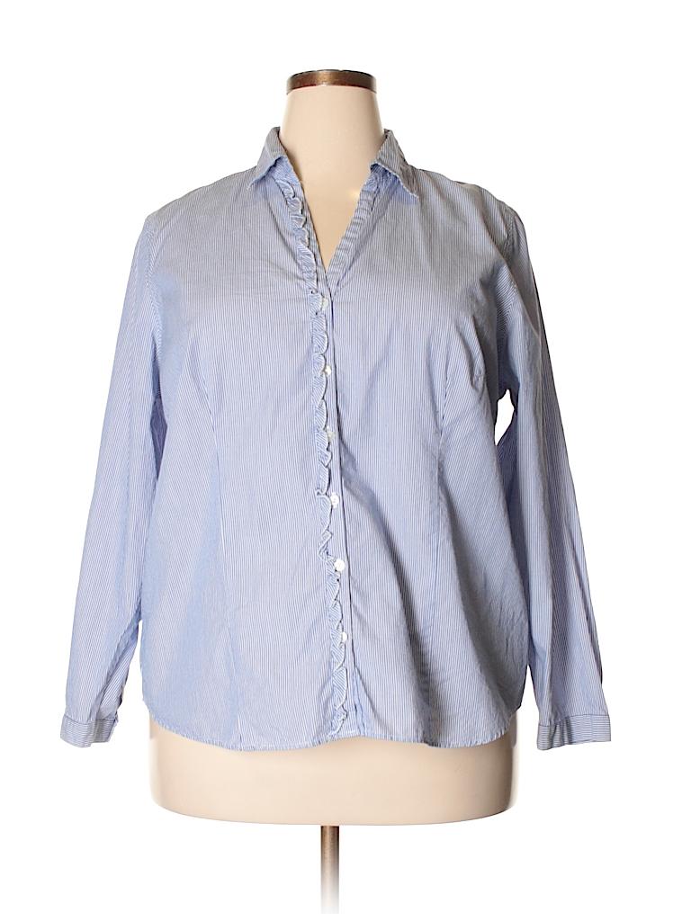 5225e09b91 L.L.Bean 100% Cotton Stripes Blue Long Sleeve Button-Down Shirt Size ...
