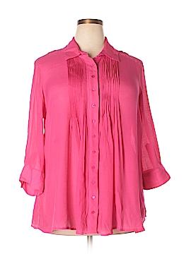 Alfani 3/4 Sleeve Button-Down Shirt Size 0X (Plus)