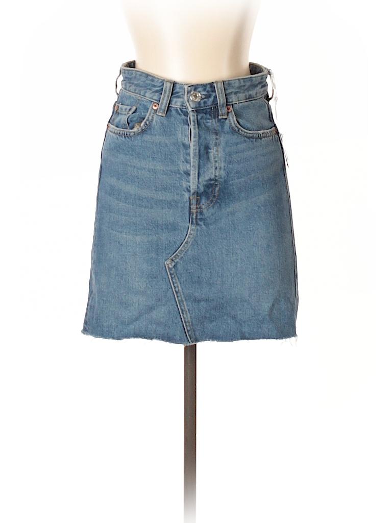 H&M 100% Cotton Solid Blue Denim Skirt Size 2 - 56% off | thredUP